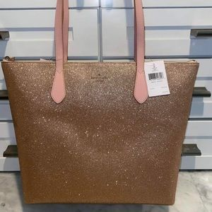 Kate Spade Rose Gold Glitter Tote NWT and Wallet